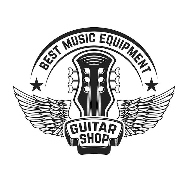 Szablon Etykiety Sklep Z Gitarami. Gitara Ze Skrzydłami. Elementy Plakatu, Logo, Etykiety, Godło, Znak. Ilustracja Premium Wektorów