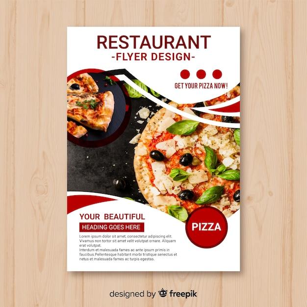 Szablon flyer nowoczesnej pizzy restauracji Darmowych Wektorów