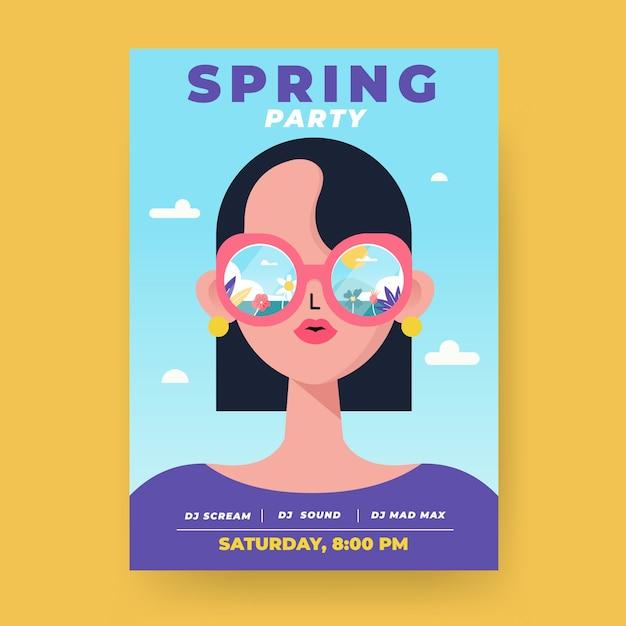 Szablon Flyer Party Wiosna Darmowych Wektorów