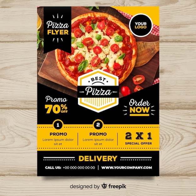 Szablon flyer pizzy Darmowych Wektorów