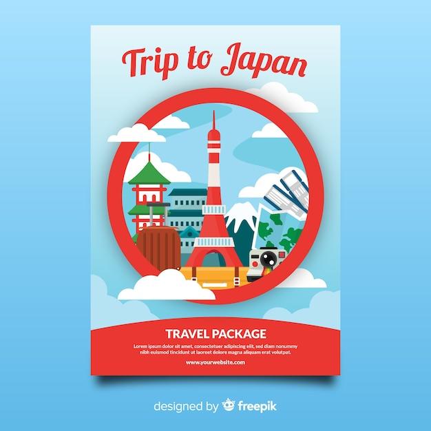 Szablon flyer podróży w japonii Darmowych Wektorów