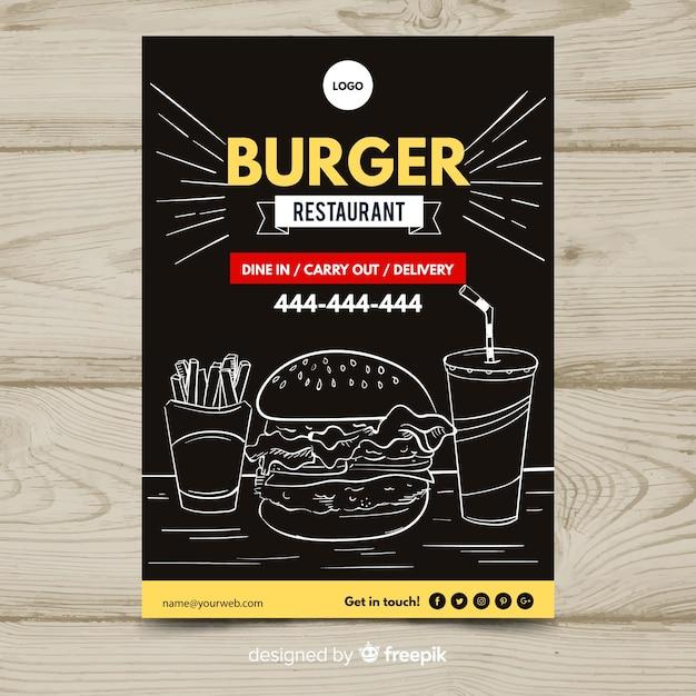 Szablon Flyer Restauracji Nowoczesne Fast Food Darmowych Wektorów