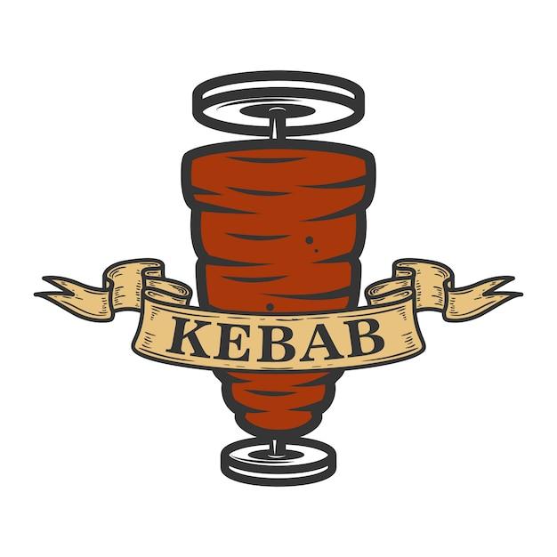 Szablon Godło Kebab. Fast Food. Element Na Logo, Etykietę, Godło, Znak. Wizerunek Premium Wektorów