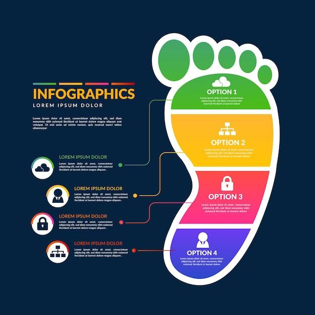 Szablon Gradientu Infografiki ślad Premium Wektorów