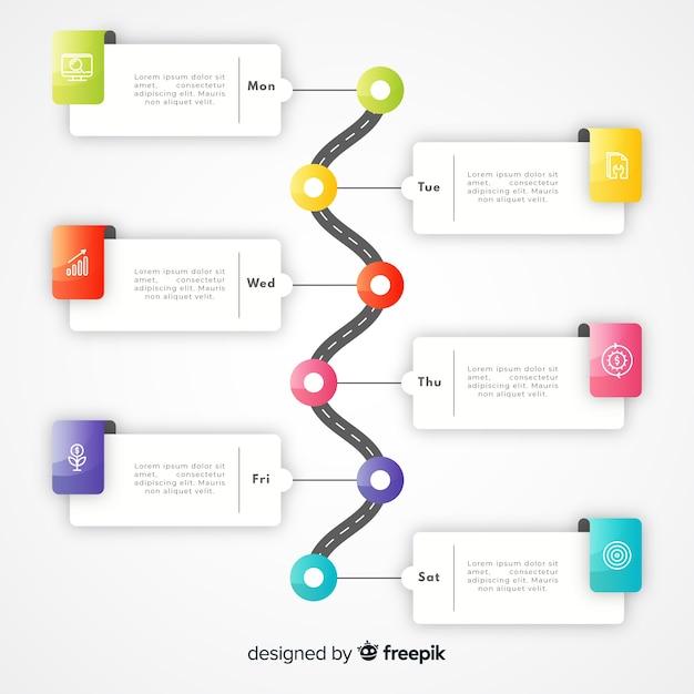 Szablon gradientu kolorowe osi czasu infographic Darmowych Wektorów