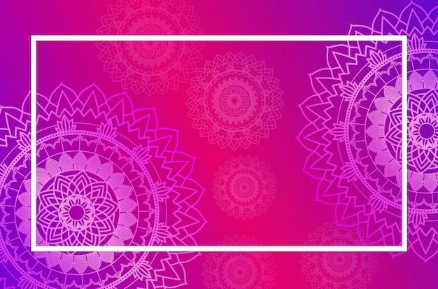 Szablon granicy z wzorem mandali w kolorze różowym Darmowych Wektorów