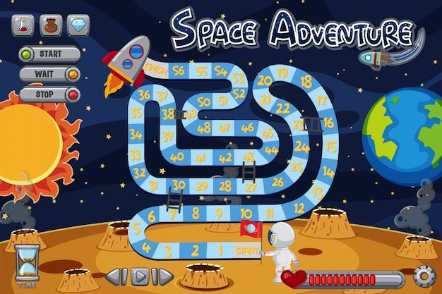 Szablon Gry Planszowej Z Astronautą Na Księżycu Premium Wektorów