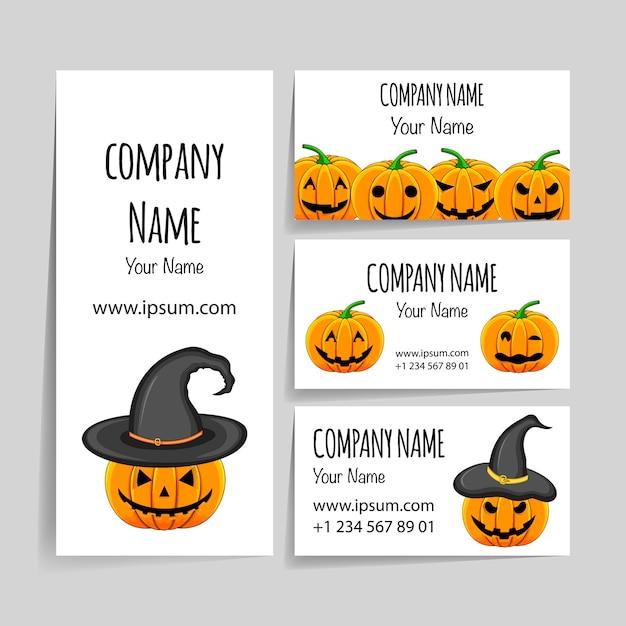 Szablon Halloween Dla Twojej Wizytówki. Styl Kreskówki. Premium Wektorów