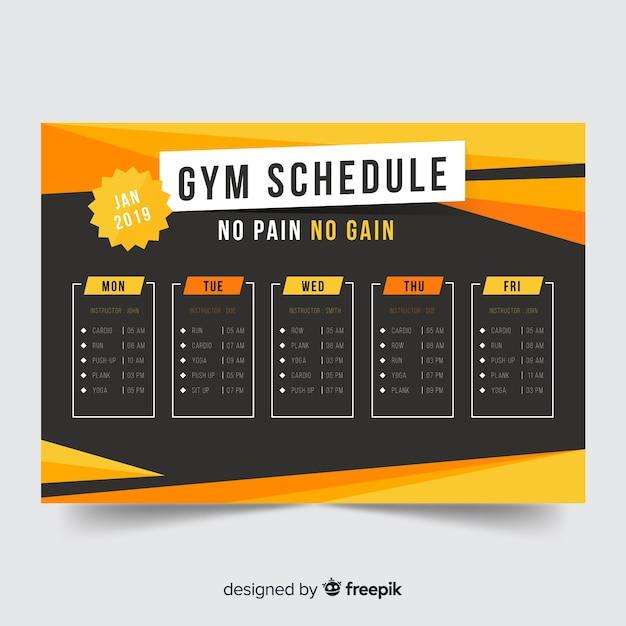 Szablon harmonogramu siłowni Darmowych Wektorów