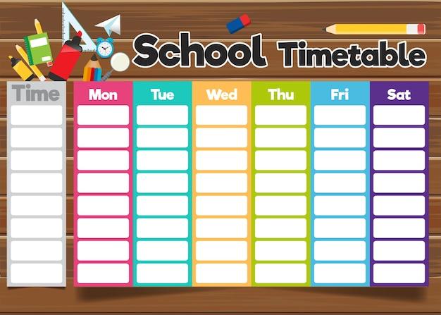 Szablon harmonogramu szkoły Premium Wektorów
