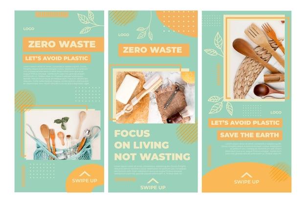 Szablon Historii Na Instagramie Dla środowiska Zero Waste Premium Wektorów