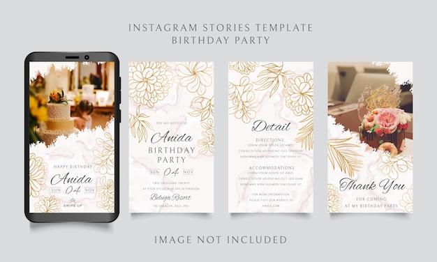 Szablon Historii Na Instagramie Na Przyjęcie Urodzinowe Ze Złotą Ramą W Kwiaty Premium Wektorów