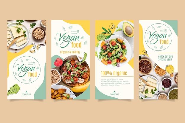 Szablon Historii Na Instagramie Wegańskie Jedzenie Premium Wektorów