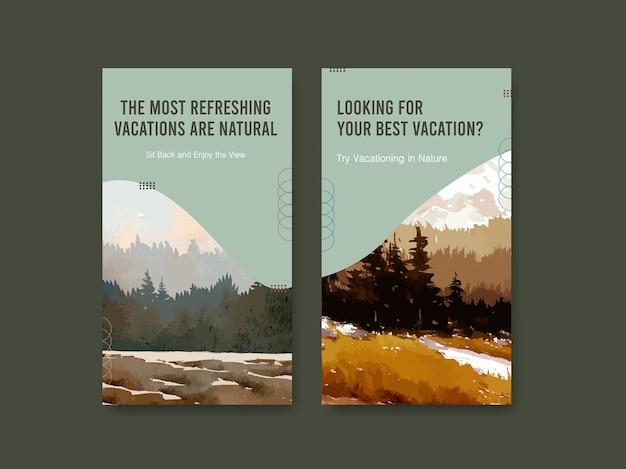 Szablon Historii Na Instagramie Z Krajobrazem W Jesiennym Designie Darmowych Wektorów