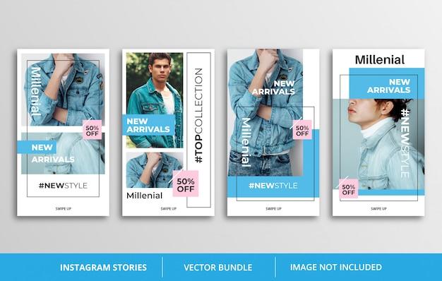 Szablon historii niebieski instagram Premium Wektorów