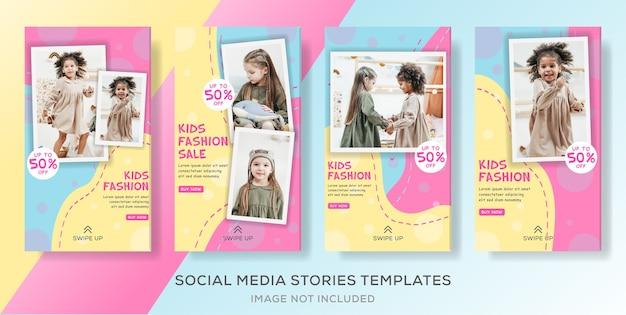 Szablon Historii W Mediach Społecznościowych Dla Dzieci Premium Wektorów