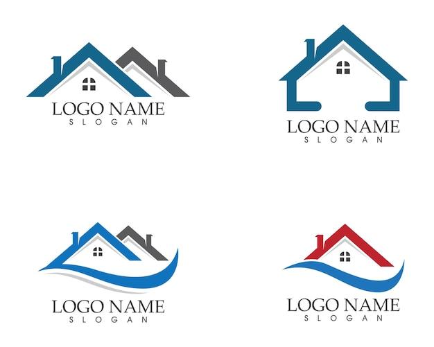 Szablon ikony logo nieruchomości i budynków mieszkalnych Premium Wektorów