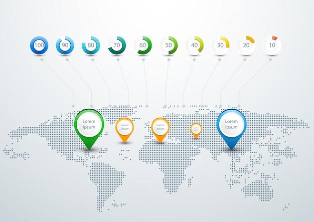 Szablon infograficzny na mapie świata z kropkami Darmowych Wektorów