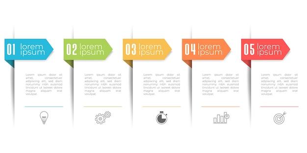 Szablon Infografikę Nowoczesnej Osi Czasu, 5 Opcji Lub Krok. Premium Wektorów