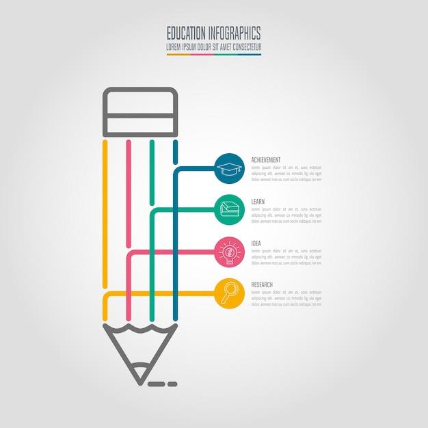 Szablon Infografiki Edukacji 4-krokowa Opcja. Oś Czasu Plansza Projekt Wektor. Premium Wektorów