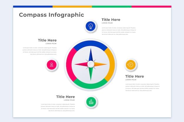 Szablon Infografiki Kompasu Premium Wektorów