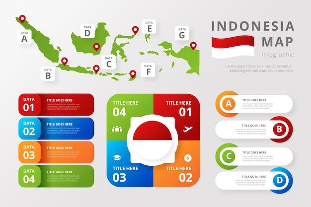 Szablon Infografiki Mapy Gradientu Indonezji Darmowych Wektorów