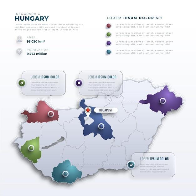 Szablon Infografiki Mapy Gradientu Węgier Darmowych Wektorów