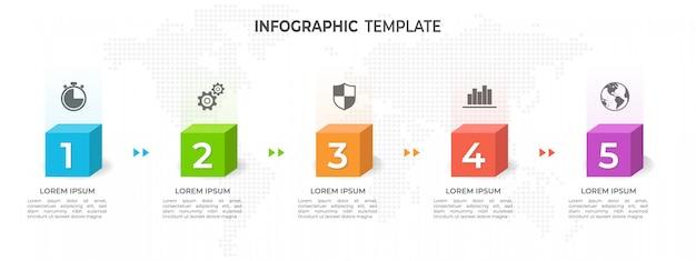 Szablon infografiki osi czasu 5 opcji. Premium Wektorów