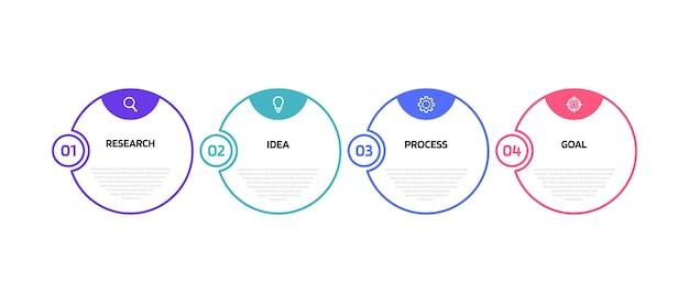 Szablon Infografiki Procesu Biznesowego Z Opcjami Lub Krokami. Cienka Linia . Ilustracja Graficzna. Premium Wektorów
