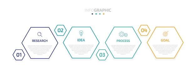 Szablon Infografiki Procesu Biznesowego Z Opcjami Lub Krokami. Nowoczesny Układ Papieru Z Cienką Linią. Ilustracja Graficzna. Premium Wektorów