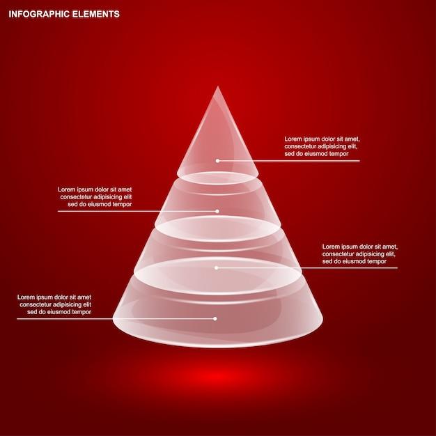 Szablon Infografiki Szklanej Piramidy Premium Wektorów