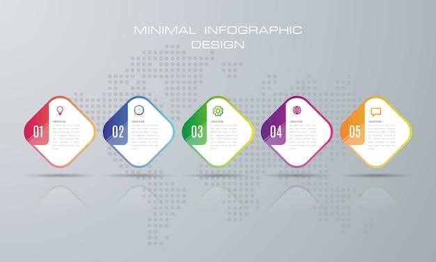 Szablon infografiki z 5 opcjami Premium Wektorów