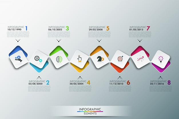 Szablon infografiki z osią czasu i 8 połączonymi kwadratowymi elementami Premium Wektorów