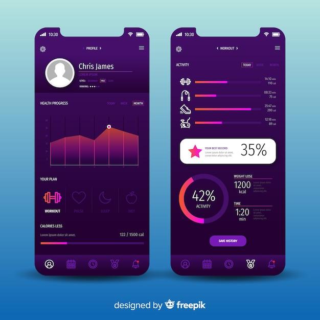 Szablon infographic aplikacji mobilnej fitness Darmowych Wektorów