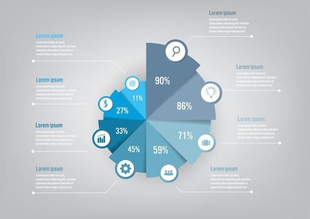 Szablon Infographic Biznesu Z 8 Opcji Wykres Kołowy Premium Wektorów