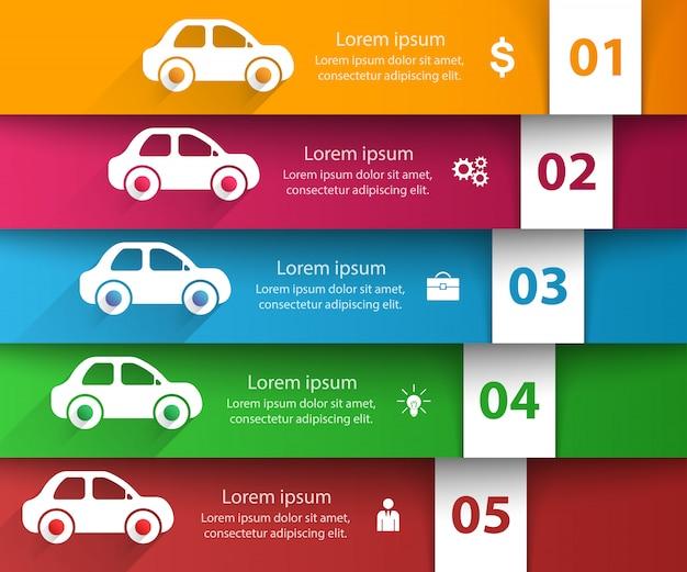 Szablon infographic drogi i marketing ikony. Premium Wektorów