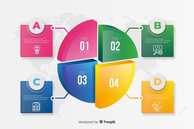 Szablon infographic kolorowe kroki Darmowych Wektorów