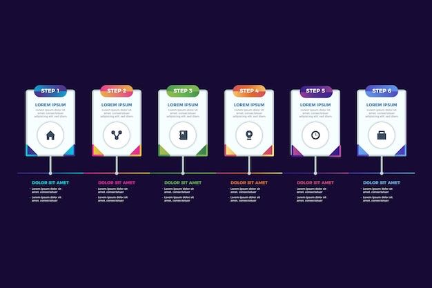 Szablon Infographic Kroki Gradientu Darmowych Wektorów