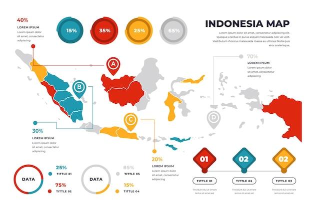 Szablon Infographic Mapy Liniowej Indonezji Darmowych Wektorów