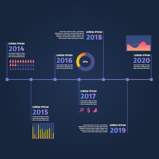 Szablon infographic osi czasu gradientu Darmowych Wektorów