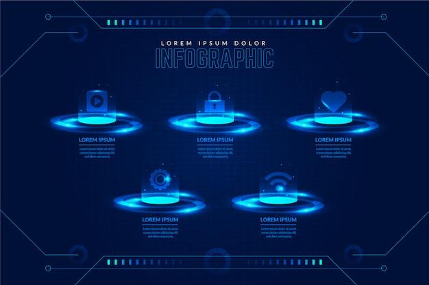 Szablon Infographic Technologii Darmowych Wektorów