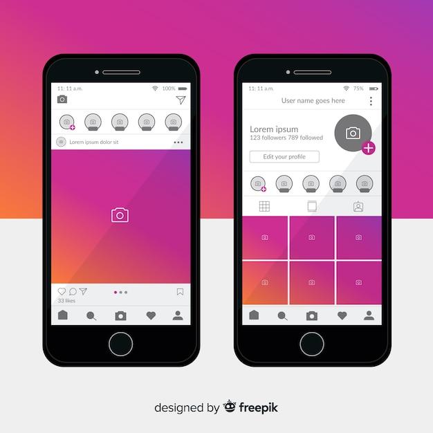 Szablon instagram ramka na zdjęcia na iphone Darmowych Wektorów