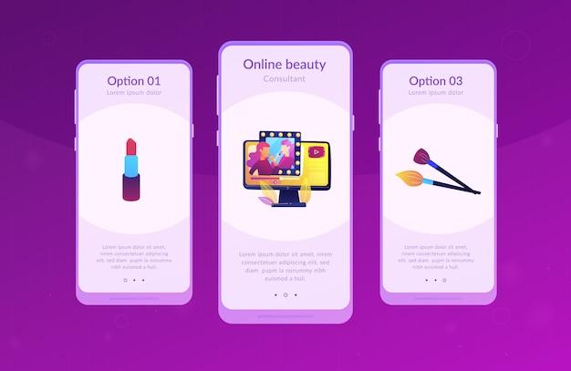 Szablon Interfejsu Aplikacji Blogera Piękności. Premium Wektorów