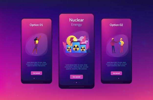 Szablon interfejsu aplikacji energii jądrowej. Premium Wektorów