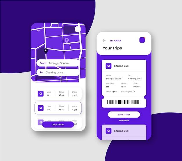Szablon Interfejsu Aplikacji Transportu Publicznego Na Smartfonie Premium Wektorów