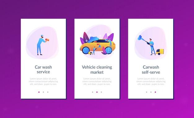 Szablon Interfejsu Aplikacji Usługi Myjni Samochodowej Premium Wektorów