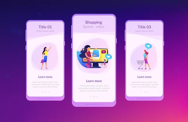 Szablon Interfejsu Aplikacji Wideo Szaleństwo Zakupów. Premium Wektorów