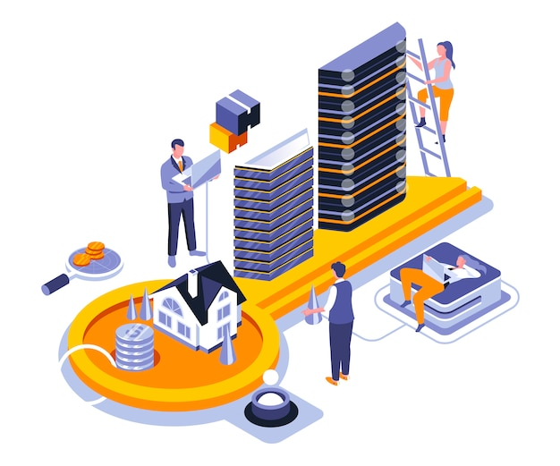 Szablon Izometryczny Ilustracja Nieruchomości Premium Wektorów
