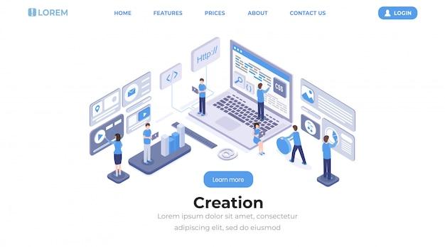 Szablon izometryczny strony docelowej tworzenia oprogramowania Premium Wektorów