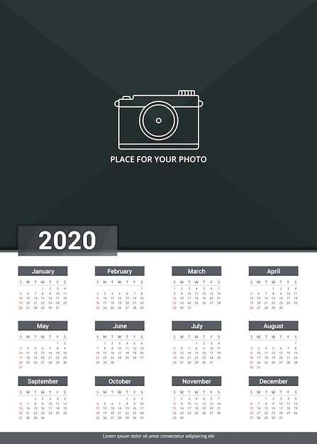 Szablon Kalendarza 2020 Premium Wektorów